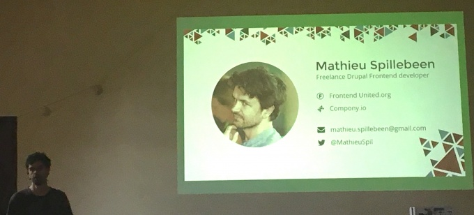 Mathieu presenting future of theming - Compony.io